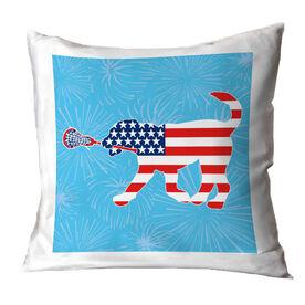 Girls Lacrosse Throw Pillow Patriotic LuLa the Lax Dog
