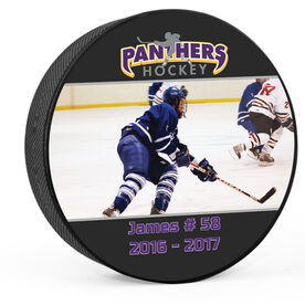 Personalized Photo With Logo (Wide) Hockey Puck