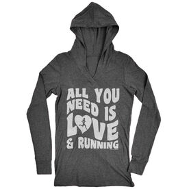Women's Running Lightweight Performance Hoodie All You Need Is Love And Running