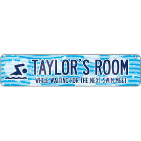 """Swimming Aluminum Room Sign Personalized Swim Room Sign Girl (4""""x18"""")"""