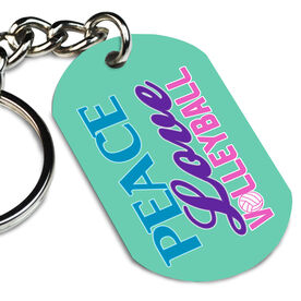 Volleyball Printed Dog Tag Keychain Peace Love Volleyball Words