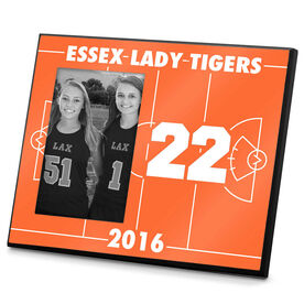 Girls Lacrosse Photo Frame Personalized Girls Lacrosse Field with Number on Field