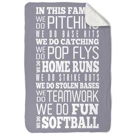 Softball Sherpa Fleece Blanket We Do Softball