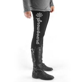Snowboarding High Print Leggings Snowboard Script with Snowflake