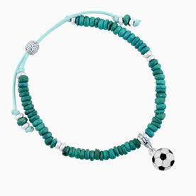 Natural SportBEAD Adjustable Bracelet - Soccer Ball
