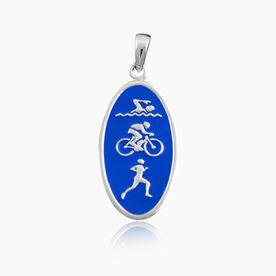 Sterling Silver and Blue Enamel Swim Bike Run Charm