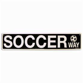 "Soccer Aluminum Room Sign Soccer Way (4""x18"")"