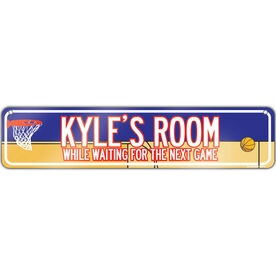 "Basketball Aluminum Room Sign Personalized Basketball Guy Room Sign (4""x18"")"