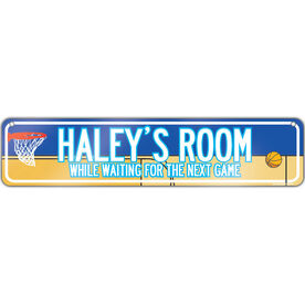 "Basketball Aluminum Room Sign Personalized Basketball Girl Room Sign (4""x18"")"