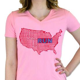 Women's Customized Pink Short Sleeve Tech Tee USA Runner