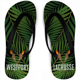 Guys Lacrosse Flip Flops Tropical Custom Team Name