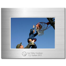 Engraved Basketball Frame Silver 5 x 7 with Basketball Icon