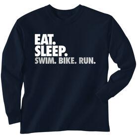 Triathlon T-Shirt Long Sleeve Eat. Sleep. Swim. Bike. Run.
