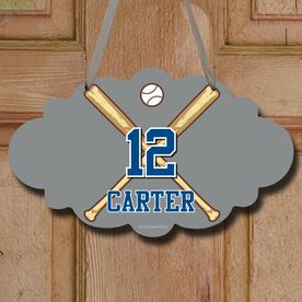 Baseball Cloud Sign Personalized Crossed Bats with Big Number