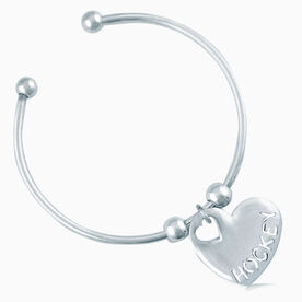 Silver Hockey Heart On Silver Plated Cuff Bracelet