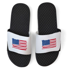 Baseball White Slide Sandals - American Flag