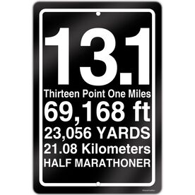 "Half Marathon Aluminum Room Sign 13.1 Math Miles (18"" X 12"")"
