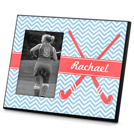 Field Hockey Photo Frame Field Hockey Sticks with Chevron Pattern
