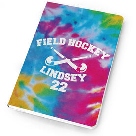 Field Hockey Notebook Tie Dye Pattern with Field Hockey Sticks