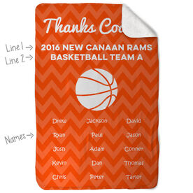 Basketball Sherpa Fleece Blanket Personalized Thanks Coach Chevron