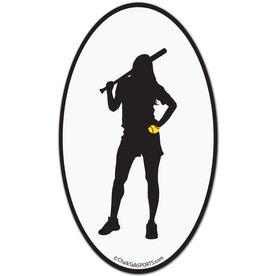 Softball Player Oval Car Magnet (Black)