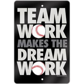 "Baseball Aluminum Room Sign (18""x12"") Team Work"