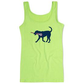 Girls Lacrosse Women's Athletic Tank Top LuLa the Lax Dog (Blue)