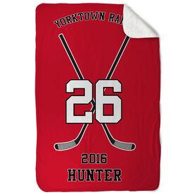 Hockey Sherpa Fleece Blanket Personalized Team Crossed Sticks