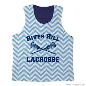 Girls Lacrosse Racerback Pinnie Lacrosse Team with Chevron - Navy Interior