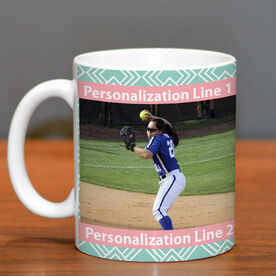 Softball Ceramic Mug Custom Photo with Pattern
