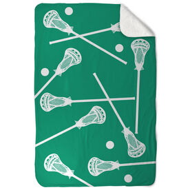 Guys Lacrosse Sherpa Fleece Blanket Lacrosse Sticks Pattern