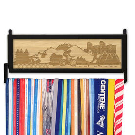 TriathletesWALL Engraved Bamboo Medal Display Tri Country