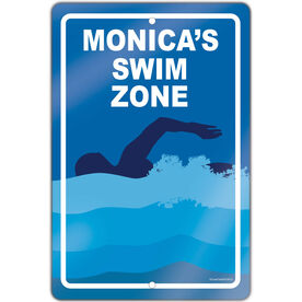 "Swimming 18"" X 12"" Aluminum Room Sign Personalized Swim Zone Girl"