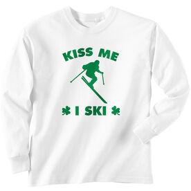 Skiing Tshirt Long Sleeve Kiss Me I Ski