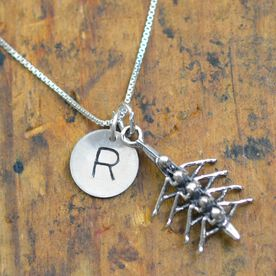 Sterling Silver Hand Stamped Half Inch Block Font Initial Charm and Crew Regatta Necklace