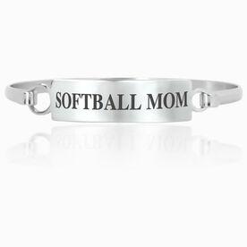 Softball Engraved Clasp Bracelet - Mom (Text)