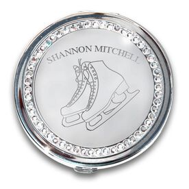 Silver Personalized Figure Skating Compact Mirror