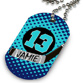Hockey Printed Dog Tag Necklace Personalized Puck and Stick with Dots