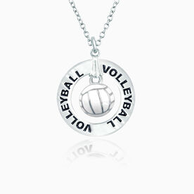 Volleyball Message Ring /Enamel Volleyball Necklace