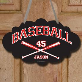 Baseball Cloud Sign Personalized Baseball with Crossed Bats