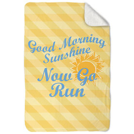 Running Sherpa Fleece Blanket Good Morning Sunshine