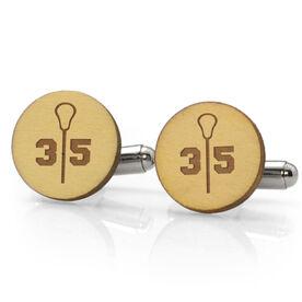 Guys Lacrosse Engraved Wood Cufflinks Split Number