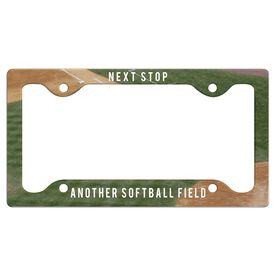 Next Stop, Another Softball Field License Plate Holder