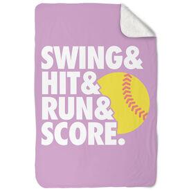 Softball Sherpa Fleece Blanket Swing & Hit & Run & Score