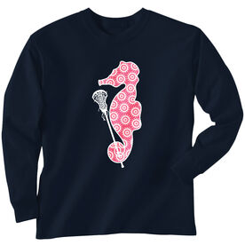 Girls Lacrosse Long Sleeve T-Shirt - Lax Seahorse