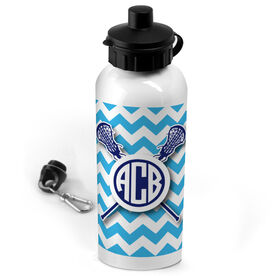 Lacrosse 20 oz. Stainless Steel Water Bottle Monogrammed Chevron Pattern With Crossed Sticks