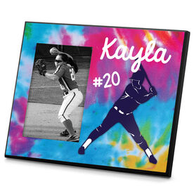 Softball Photo Frame Personalized Girl Softball Batter with Tie Dye