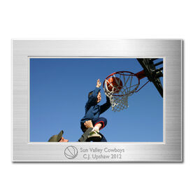 Engraved Basketball Frame Silver 4 x 6 with Basketball Icon