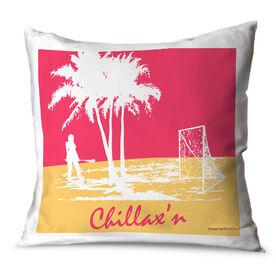 Girls Lacrosse Throw Pillow Chillax'n Girl