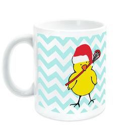 Girls Lacrosse Ceramic Mug Lacrosse Chick with Santa Hat